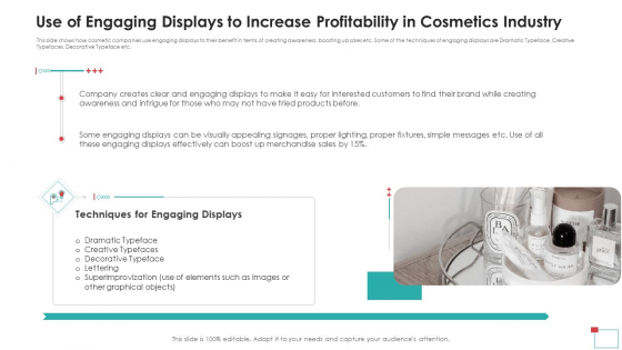 Use Of Engaging Displays To Increase Profitability In Cosmetics Industry Clipart PDF