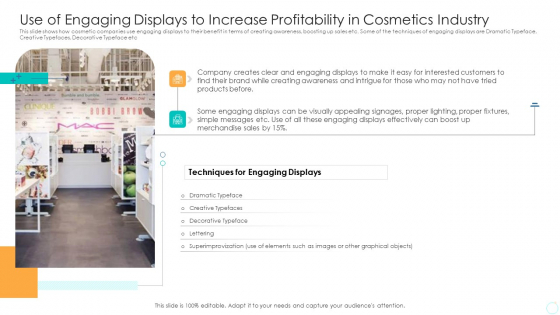 Use Of Engaging Displays To Increase Profitability In Cosmetics Industry Portrait PDF