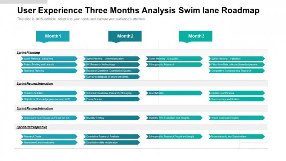 User_Experience_Three_Months_Analysis_Swim_Lane_Roadmap_Demonstration_Slide_1