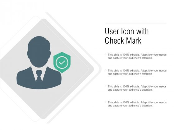 User Icon With Check Mark Ppt PowerPoint Presentation Summary Portrait