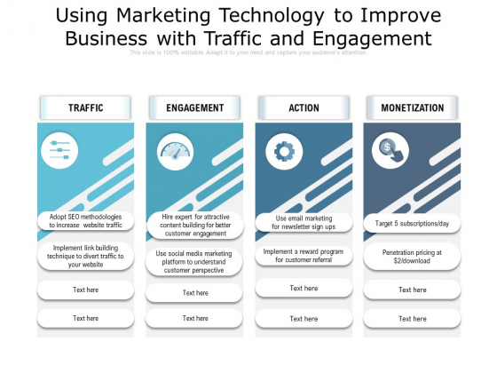 Using Marketing Technology To Improve Business With Traffic And Engagement Ppt PowerPoint Presentation Gallery Infographics PDF