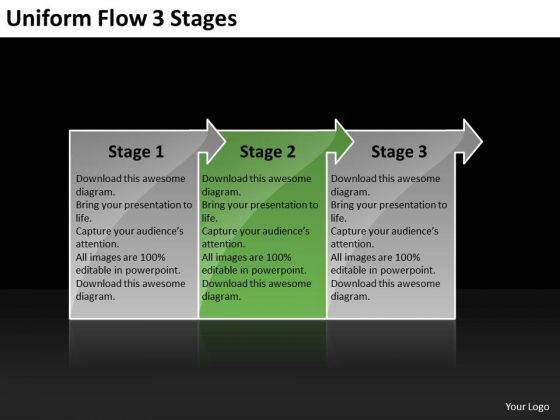 Uniform Flow 3 Stages Ppt Diagram PowerPoint Templates