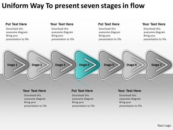 Uniform Way To Present Seven Stages In Flow Business Plan Samples PowerPoint Slides