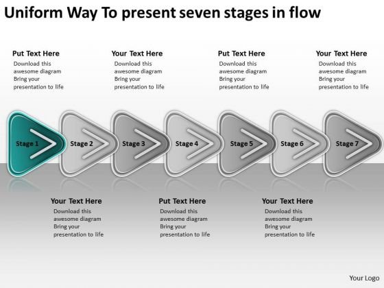 Uniform Way To Present Seven Stages In Flow Professional Business Plans PowerPoint Templates