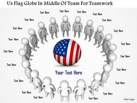Us Flag Globe In Middle Of Team For Teamwork