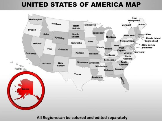 usa alaska state powerpoint maps powerpoint templates