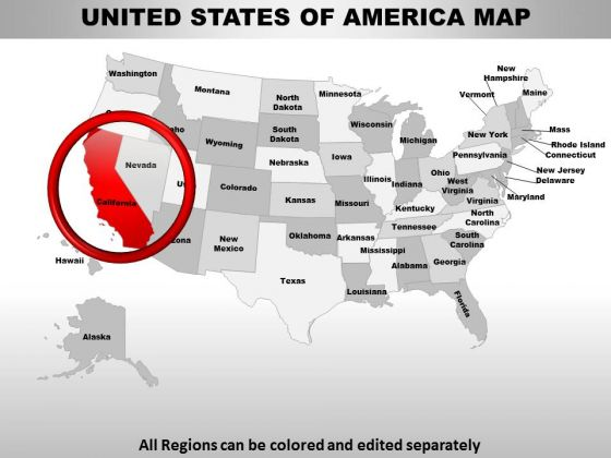 Usa California State PowerPoint Maps