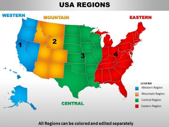 Usa Central Region Country PowerPoint Maps