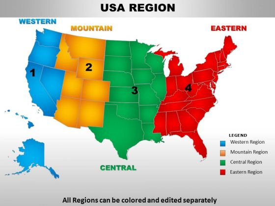 Usa Eastern Region Country PowerPoint Maps