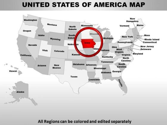 Usa Iowa State PowerPoint Maps