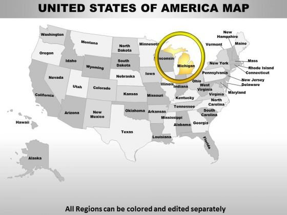 Usa Michigan State PowerPoint Maps