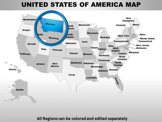 Usa Montana State PowerPoint Maps