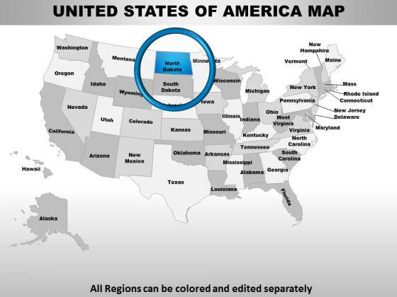 Usa North Dakota State PowerPoint Maps