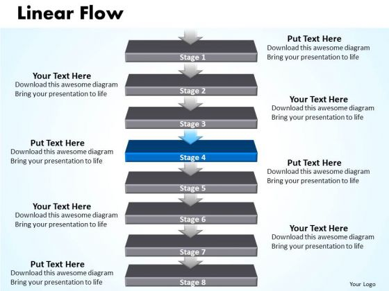 Usa PowerPoint Template Linear Flow 8 Stages Business Communication Graphic