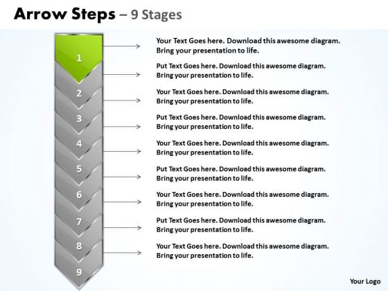 Usa Ppt Green And Orange Arrow 9 Power Point Stage Business Strategy PowerPoint 2 Image