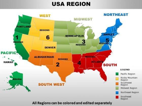 Mountain Region Map Usa Rocky Mountain Region Country PowerPoint Maps   PowerPoint
