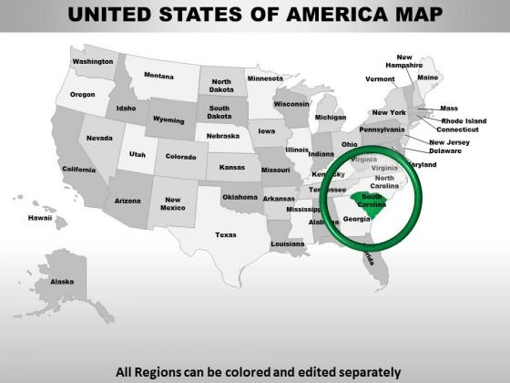 Usa South Carolina State PowerPoint Maps