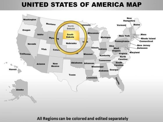 Usa South Dakota State PowerPoint Maps