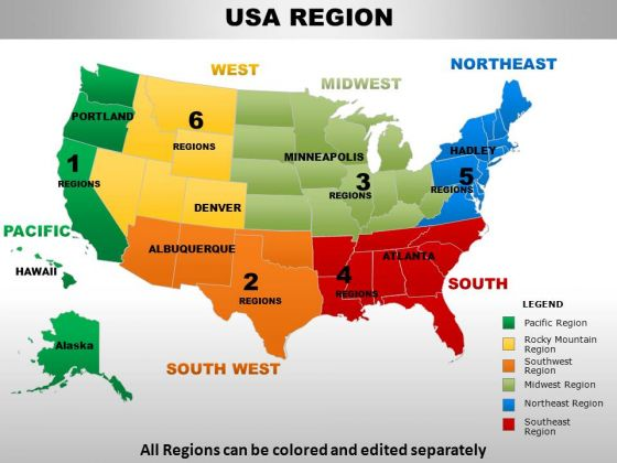 Usa South West Region Country PowerPoint Maps