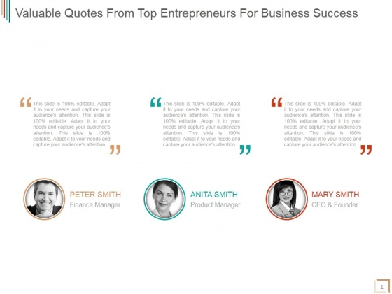 Valuable Quotes From Top Entrepreneurs For Business Success Ppt PowerPoint Presentation Picture