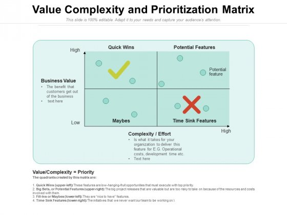 Value Complexity And Prioritization Matrix Ppt PowerPoint Presentation Icon Background Images PDF