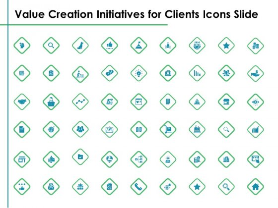 Value Creation Initiatives For Clients Icons Slide Ppt Summary Deck PDF