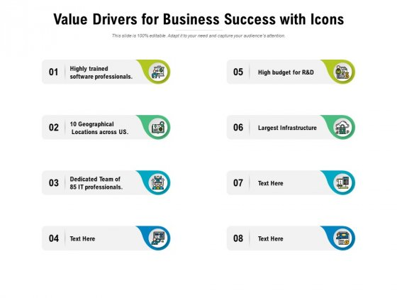 Value Drivers For Business Success With Icons Ppt PowerPoint Presentation Styles Examples