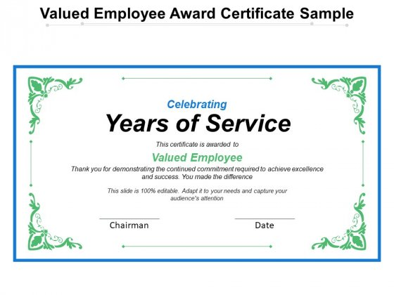 Valued Employee Award Certificate Sample Ppt PowerPoint Presentation File Master Slide