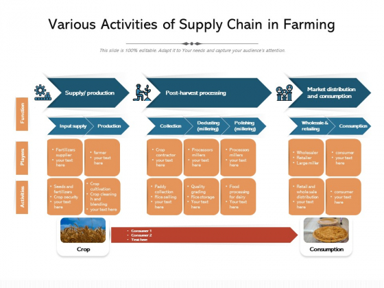 Various Activities Of Supply Chain In Farming Ppt PowerPoint Presentation Ideas Show PDF