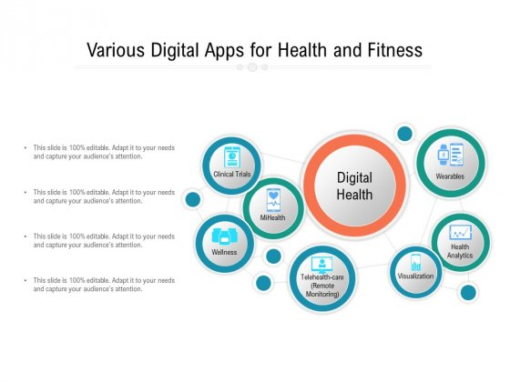 Various Digital Apps For Health And Fitness Ppt PowerPoint Presentation File Slides PDF