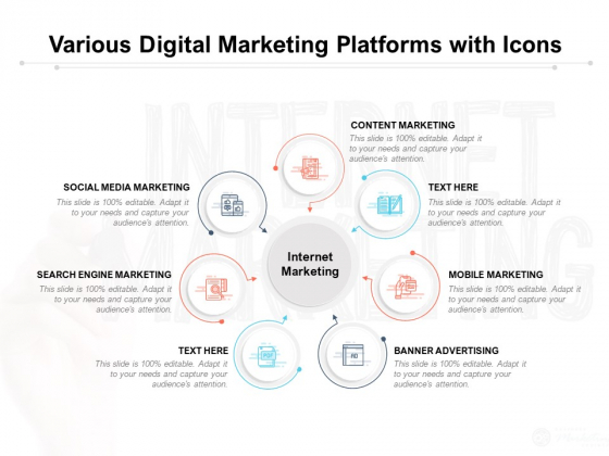 Various Digital Marketing Platforms With Icons Ppt PowerPoint Presentation Model Portrait