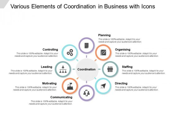 Various Elements Of Coordination In Business With Icons Ppt Powerpoint Presentation Gallery Inspiration
