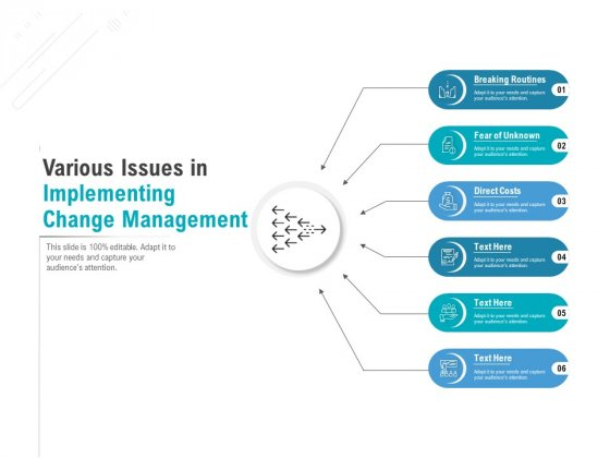 Various Issues In Implementing Change Management Ppt PowerPoint Presentation Summary Graphic Images