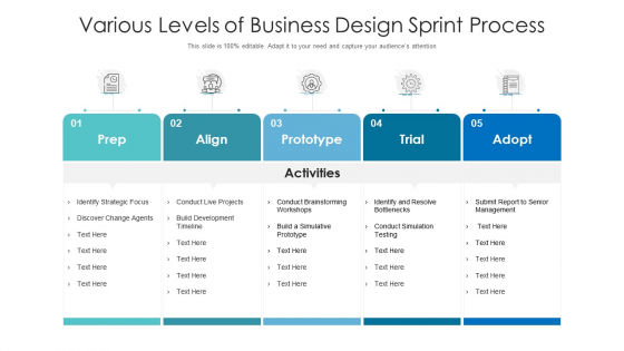Various Levels Of Business Design Sprint Process Ppt PowerPoint Presentation File Guidelines PDF