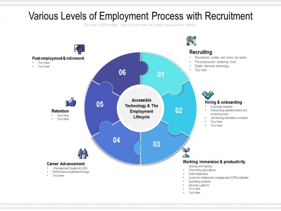 Various Levels Of Employment Process With Recruitment Ppt PowerPoint Presentation Gallery Background PDF