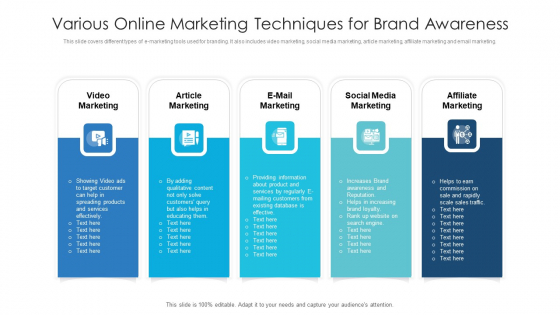 Various Online Marketing Techniques For Brand Awareness Ppt Portfolio Objects PDF