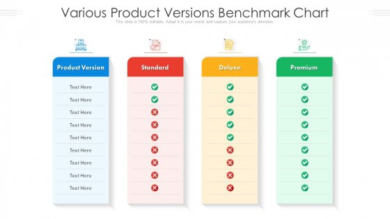 Various Product Versions Benchmark Chart Ppt PowerPoint Presentation Graphics PDF