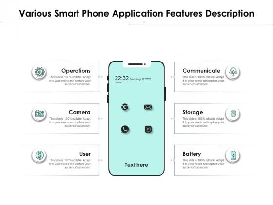 Various Smart Phone Application Features Description Ppt PowerPoint Presentation Pictures Graphic Images PDF