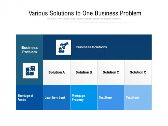 Various Solutions To One Business Problem Ppt PowerPoint Presentation Icon Model PDF