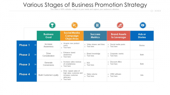 Various Stages Of Business Promotion Strategy Ppt Portfolio Designs Download PDF