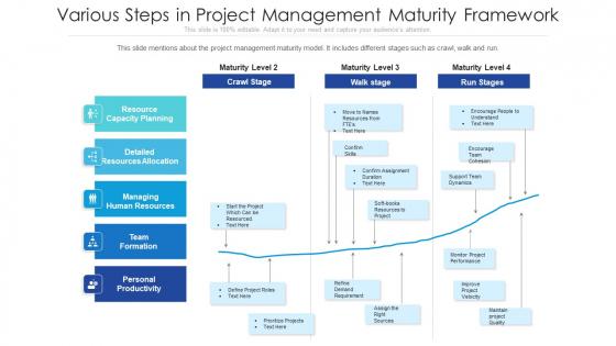 Various Steps In Project Management Maturity Framework Ppt Outline Master Slide PDF