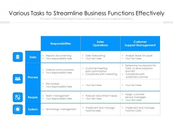 Various Tasks To Streamline Business Functions Effectively Ppt PowerPoint Presentation Infographic Template Infographics PDF