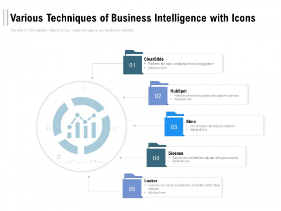 Various Techniques Of Business Intelligence With Icons Ppt PowerPoint Presentation Show