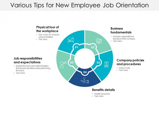 Various Tips For New Employee Job Orientation Ppt PowerPoint Presentation Slides Inspiration