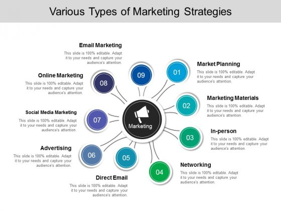 Various Types Of Marketing Strategies Ppt PowerPoint Presentation Infographic Template Gallery