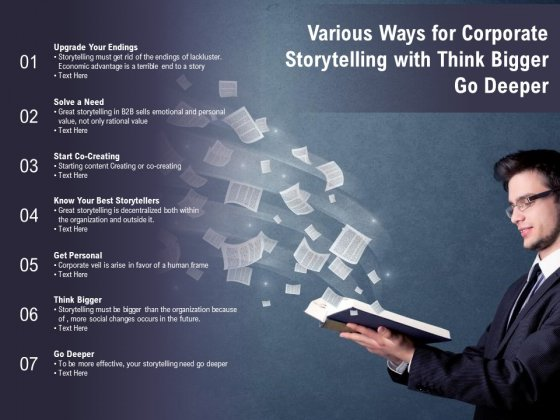 Various Ways For Corporate Storytelling With Think Bigger Go Deeper Ppt PowerPoint Presentation Outline Styles