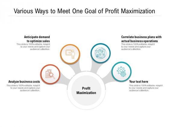 Various Ways To Meet One Goal Of Profit Maximization Ppt PowerPoint Presentation Gallery Layouts PDF
