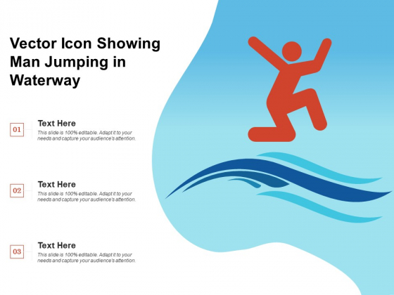Vector Icon Showing Man Jumping In Waterway Ppt PowerPoint Presentation File Styles PDF