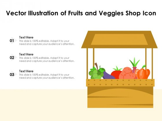 Vector Illustration Of Fruits And Veggies Shop Icon Ppt PowerPoint Presentation Gallery File Formats PDF