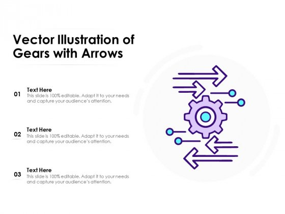 Vector Illustration Of Gears With Arrows Ppt PowerPoint Presentation Summary Deck PDF